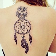 Cute Old Owl with Dream Catcher Tattoo