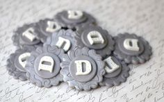 Silver and White Initial Letter Fondant Toppers