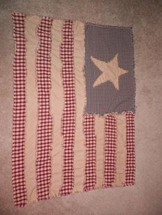 rag quilt made to look like an american flag