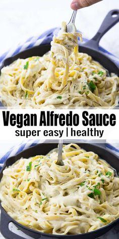vegan Alfredo sauce is the perfect comfort food! It's so incredibly creamy . This vegan Alfredo sauce is the perfect comfort food! It's so incredibly creamy .This vegan Alfredo sauce is the perfect comfort food! It's so incredibly creamy . Fettuccine Alfredo, Vegan Dinner Recipes, Whole Food Recipes, Vegetarian Recipes, Healthy Recipes, Salad Recipes, Dairy Free Recipes, Kids Vegan Meals, Dairy Free Meals