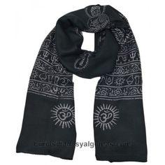 Fulares grandes  de algodón fino de estilo hippie, estampados con diferentes símbolos hindúes-budistas. Por su tamaño se puede utilizar como chal. Medidas: 180 cm x 100 cm