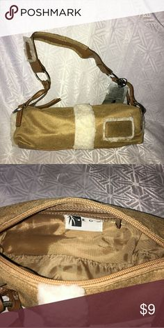 Camel Colored Clutch Brand New with Tags faux suede very nice clutch purse! Bags Clutches & Wristlets