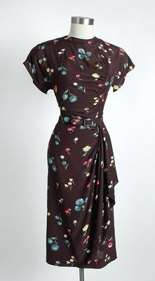 1940s Printed Rayon Dress w/ Hip Swag $178
