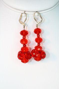 Red Czech Glass Earrings by AnnetteRHdesigns on Etsy