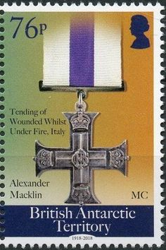 Stamp: Military Cross Order (British Antarctic Territory (BAT)) (Centenary of the End of World War I) Col:GB-AT 2018-05B