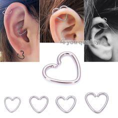 Dazzling Best Collection of Earrings Ideas. Ineffable Best Collection of Earrings Ideas. Cartilage Ring, Ear Piercings Helix, Heart Piercing, Piercing Ring, Daith, Body Piercings, Piercing Tattoo, Ear Jewelry, Cute Jewelry