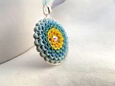 Blue Yellow Pendant Swarovski Sparkle Necklace Clay by TunicBotik on Etsy Polymer Clay Kunst, Polymer Clay Pendant, Polymer Clay Projects, Polymer Clay Earrings, Polymer Clay Embroidery, Bead Embroidery Jewelry, Yellow Pendants, Clay Design, Polymers