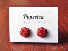 Origami jewelry - Rose red and burgundy brown woven paper earring studs by Paperica on Etsy
