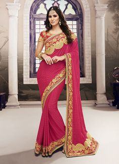 Grab This Beauteous Pink Colored Georgette Saree With Designer Red Colored Banglori Silk Blouse To Look Gorgeous And Make You Vivacious Women For Your Precious Moments. Saree color Pink saree