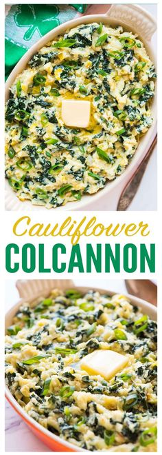A low carb version of traditional Irish potatoes colcannon, made with kale and mashed cauliflower! This healthy Paleo recipe tastes decadent but is completely guilt free. Patrick's Day or anytime you ne Low Carb Side Dishes, Best Side Dishes, Healthy Side Dishes, Vegetable Dishes, Side Dish Recipes, Veggie Recipes, Vegetarian Recipes, Cooking Recipes, Healthy Recipes
