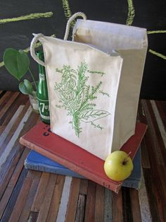 Lunch Bag  Screen Printed Lunch Bag  Reusable by ohlittlerabbit, $16.00