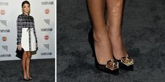 Sarah Hyland gives off distinct Art Deco vibes in these black Nicholas Kirkwood pumps with gold brooch detail.   - MarieClaire.com