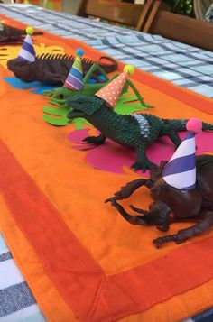 A colorful take on a traditional reptile party. No khaki or dark green here!