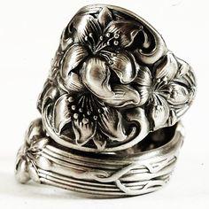 Orange Blossom Flower Sterling Silver Spoon Ring by Spoonier