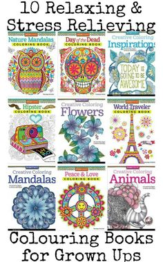 Links to free coloring pages & 10 awesome relaxing and stress relieving colouring books for grown ups