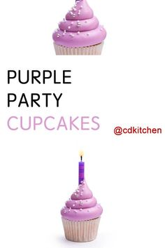 Made with white cake mix, grape flavor unsweetened soft drink mix, vanilla ready-to-spread frosting | CDKitchen.com