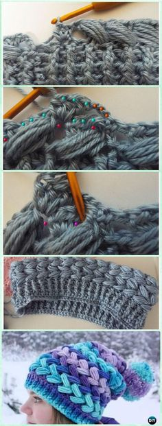 Crochet Braid Puff Stitch Slouch Hat Free Pattern [Video] via @diyhowto