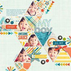 5 photos + triangles + geometric