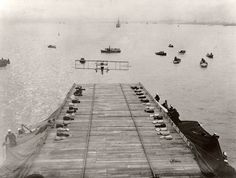 First airplane landing on a ship.  On January 18, 1911, Eugene B. Ely made the first successful landing on a naval vessel in a Curtiss Model D. Paired with his successful take-off from the ship the same day, the achievement marked the birth of naval aviation. Source: Smithsonian National Air and Space Museum Archives