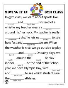 Moving it in Gym Class Mad Lib