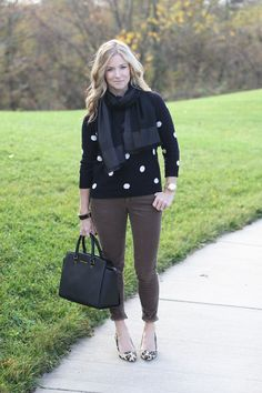 pattern mixing, leopard print polka dots  http://www.simplylulustyle.com/2013/11/seeing-spots.html