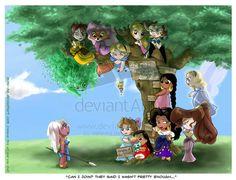 Jane, Maid Marian, Alice, Eilonwy, Captain Amelia, Tinkerbell, Shanti, the Blue Fairy, Kida, Wendy, Lilo [feat. Scrump], Esméralda & Megara (Drawing by Mimi-Na @deviantART) #Tarzan #RobinHood #AliceInWonderland #TheBlackCauldron #TreasurePlanet