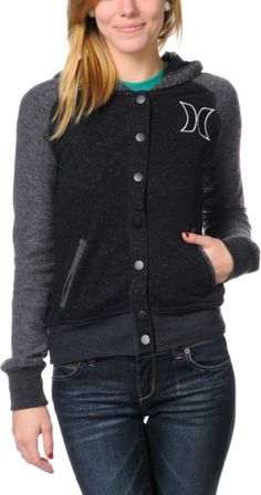 Hurley Girls JV Varsity Jacket with Hood.