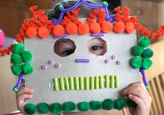 Monster Masks Get creative and make these fun monster masks with your kids. Use all kinds of crafty things like pom poms pipe cleaners beads and whatever else you have on hand. The post Monster Masks was featured on Fun Family Crafts. Kids Crafts, Recycled Crafts Kids, Halloween Crafts For Kids, Family Crafts, Craft Projects For Kids, Party Crafts, Craft Ideas, Kids Collage, Monster Mask