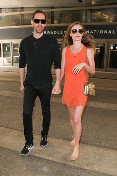 Kate Bosworth: July 2013. Effortless style. Orange dress with nude flats.