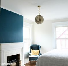 slate teal Benjamin Moore. Love this color. Definitely use it more in the room.