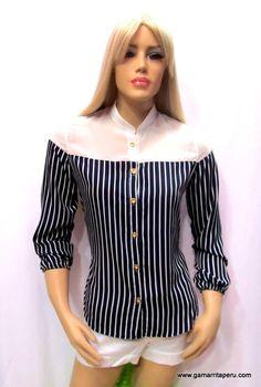 Amira Design - Blusa de seda a rayas y short en drill - Gamarrita Perú
