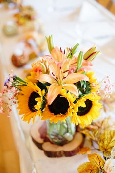 Today I have another beautiful fall wedding, captured by Chelsea Anderson Photography, to share, in an oh-so pretty palette of coral and Fall Wedding, Coral, Rustic, Table Decorations, Yellow, Chelsea, Photography, Home Decor, Sunflowers