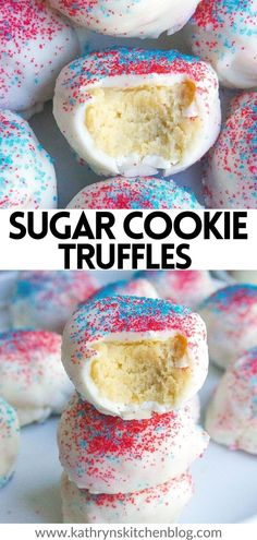 These NO-BAKE Sugar Cookie Truffles are made with Golden Oreo cookies, cream cheese, and drenched in white chocolate and coated with sprinkles! These truffles make the best Fourth of July dessert and are super easy to make!