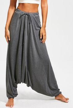Drop Bottom Harem Pants with Drawstring
