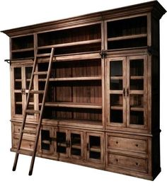 Bookshelf Library Wall Unit With Ladder Custom Hand Made Restoration Hardware 50 Home Library Design, Interior Design Living Room, House Design, Design Design, Built In Bookcase, Bookshelves, Bookcase White, Media Wall Unit, Wall Units