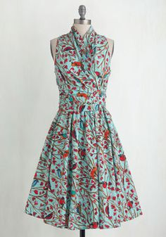 Front Perch Swing Dress. With your neck wrapped in the glamorous retro gathering of this sweet sky-blue dress, and your waist tie twisted into a perfect bow next to its side zip, you step out your front door feeling lighter than air. #multi #modcloth