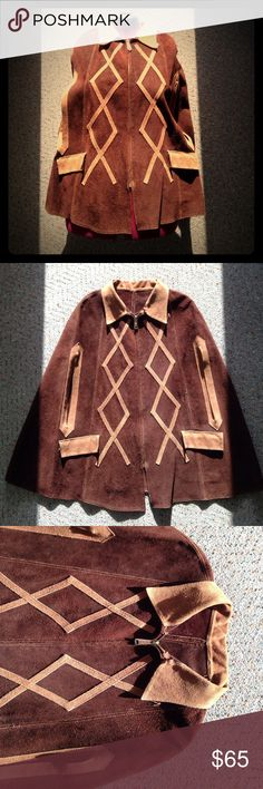 Vintage suede leather poncho capelet Beautiful and stylish suede leather poncho from the 1960s. Has two front pockets and beautiful light-brown chevron zig-zag trim. Jackets & Coats Capes