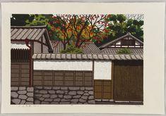 Japan Street, Samurai Warrior, Woodblock Print, Kyoto, Branches, Walls, Japanese, Traditional, Illustration