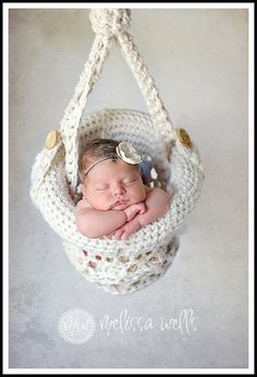 Precious Baby peacefully sleeping in Crocheted Hanging Basket Photography Prop!
