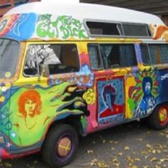 Hippie VW van with cool at work