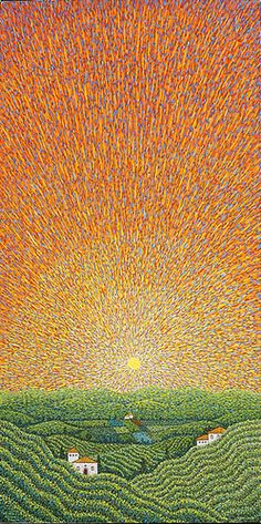 Sunburst Mandala Painting, Dot Painting, Painting & Drawing, Wallpaper Earth, Watercolor Art Landscape, Ocean Scenes, Impressionist Art, Pastel Art, Contemporary Landscape