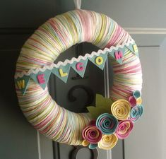 Yarn Wreath Felt Handmade Door Decoration - Sweet Greetings 12in