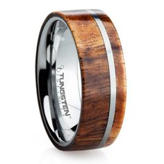 Mens Wedding Bands - 8 mm Tungsten Carbide with Hawaiian KOA Wood Inlay - K109M, (http://www.mensweddingbands.com/8-mm-tungsten-carbide-with-hawaiian-koa-wood-k109m/)