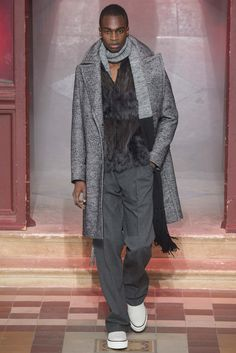 Personally, a bit too over the top with the fur vest, but I like the styling, the pants, the jacket, scarf, shoes- bravo Alber Elbaz  Lanvin Fall 2015 Menswear - Collection - Gallery - Style.com