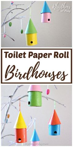 Great craft idea for fun DIY Projects! Birdhouse craft for kids! Make this easy, recycled, craft out of a toilet paper roll and a cardboard box. Turn these upcycled birdhouses into a spring garland! | #RecycledCraft #KidsCraft #ToiletRollCraft #tutorial #diy #doityourself #crafter #diyideas #craft #crafting #springdecorating #kidcraft #springcraft