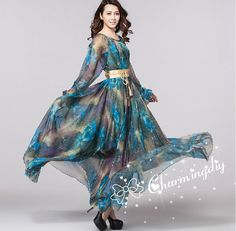 29 Colors Chiffon Blue Floral Autumn Long Sleeve Party Big Hem Dress Evening Wedding Maternity Summer Holiay Beach Bridesmaid Maxi Skirt