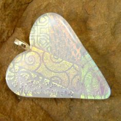 Fused Glass Heart Pendant  Shimmering White Patchwork by GlassCat,