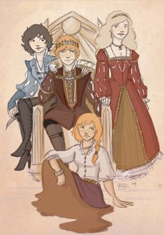 WEeeeeee!  Rand and his girls.  Rose Muse on DeviantArt.   My only beef is Elayne has red gold hair, not blonde.  Still love her illustrations! Wheel of Time