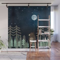 With our Wall Murals, you can cover an entire wall with a rad design - just line up the panels and stick them on. They're easy to peel off too, leaving no sticky residue behind. With crisp, vibrant co Childrens Wall Murals, Kids Room Murals, Nursery Wall Murals, Bedroom Murals, Dark Nursery, Sky Nursery, Church Nursery Decor, Woodland Nursery Decor, Balloon Wall