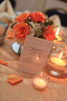 Memory Table Centerpieces With Peach Roses | Pauleenanne Design | 13 One Photography
